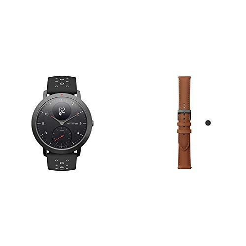 Withings Steel HR Sport - Multisport Hybrid Smartwatch & Erwachsene Lederarmband Withings - Lederarmband, Brown, 40mm, 3700546704543