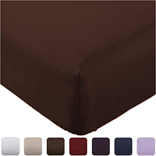 Mellanni Fitted Sheet Twin Brown - Brushed Microfiber 1800 Bedding - Wrinkle, Fade, Stain Resistant - Deep Pocket - 1 Single Fitted Sheet Only (Twin, Brown)