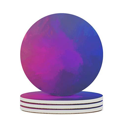 Fineiwillgo Posavasos de cerámica coloridos acuarela Doodle Ondas protectoras redondas de cerámica con dorso de corcho impreso para mesa de diámetro de 9,8 cm, color blanco, 6 unidades