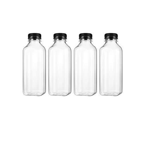 Tomaibaby Botella de Jugo de 500 Ml Botellas de Agua de Bebidas Transparentes Vacías para Beber Jugo de Jarabe Botella de Leche Batido con Tapa Suministros para Fiestas 8 Piezas
