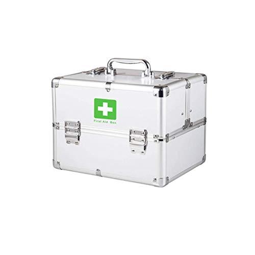 Grote draagbare verbanddoos met slot van aluminium, 3 lagen, medicijnkast met verstelbare schouderriem voor thuis, op reis en in de laadruimte