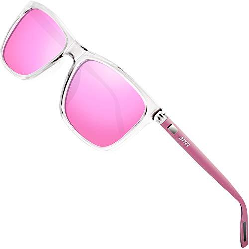 ATTCL Gafas de sol polarizadas Hombres Mujeres Marco de metal Gafas de sol de conducciónClear+pink A387