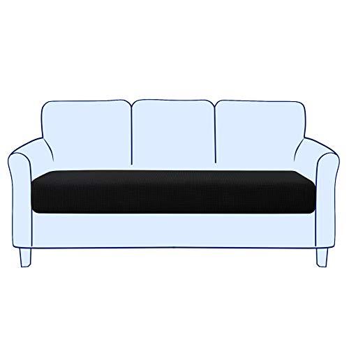 subrtex Sofa Sitzkissenbezug Stretch Sitzkissenschutz Elastischer Kissenbezüge Husse Überzug Bezug für Sofa Sitzkissen (3 Sitzer, Schwarz)