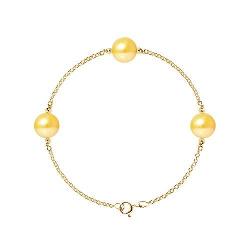 Pearls & Colors–Bracciale catena–oro giallo 9kt–Perla D' Acqua Dolce–18cm–am-9bfc 1123r9-arj-go