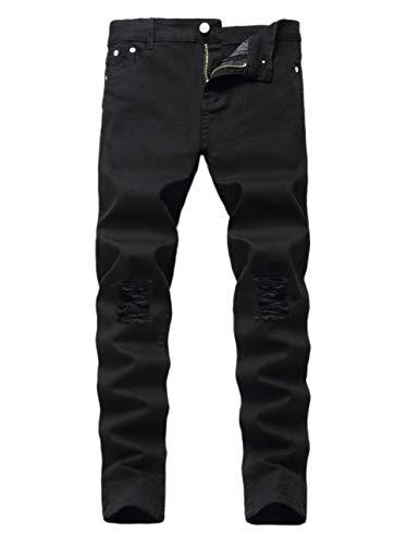 Kihatwin Boy's Skinny Ripped Destroyed Distressed Stretch Slim Biker Jeans Pants Black 14