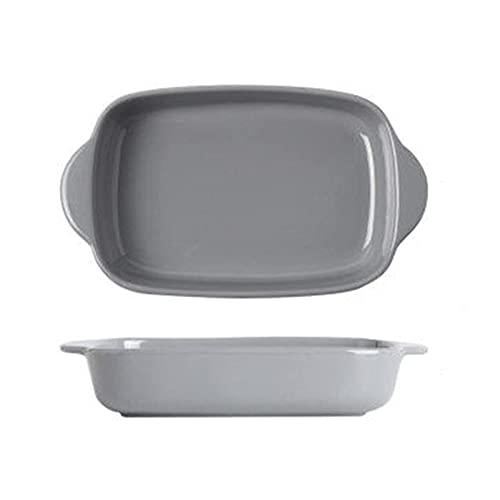 DAQ Plato para Hornear de cerámica Sartén para Hornear de cerámica biauricular Plato de arroz al Horno con Queso Vajilla para el hogar Vajilla Horno microondas Cuenco Especial Utensilios para Hornear
