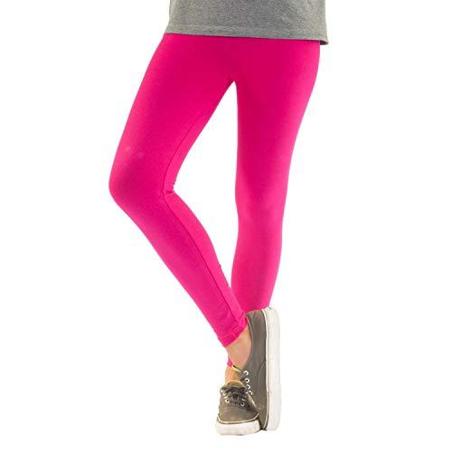 Blickdichte Damen Leggings aus Baumwolle Leggins Knöchellang in schwarz weiß grün grau rot gelb, Farbe: Pink, Größe: 48-50 (3XL)