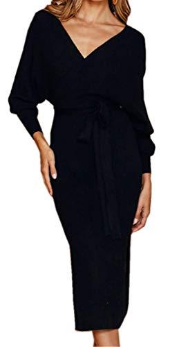 Socluer Strickkleider Damen Vintage Kleider Etuikleid Pulloverkleider Partykleider Abendkleid V-Ausschnitt Elegant Minikleid mit Gürtel (M (DE 36-38), Z-Schwarz)