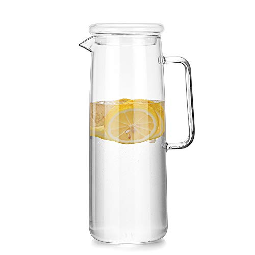 Cupwind Borosilicate Glass Water Carafe Pitcher with Infuser Lid Explosion-Proof Heat Resistance 50...
