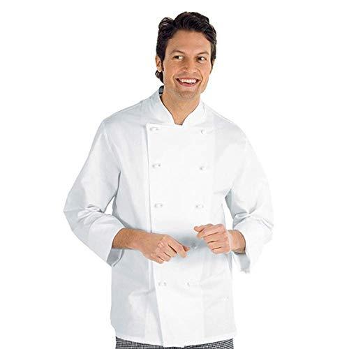 Isacco - Chaqueta de cocina clásica, color blanco, XS, 100% algodón, manga larga, botones antipánico - Tejido 190 gr/m2