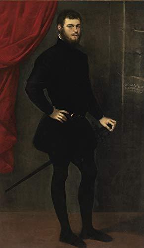 """Jacopo Tintoretto Portrait of Nicolo Doria 1545 Private Collection 24"""" x 14"""" Fine Art Giclee Canvas Print (Unframed) Reproduction"""