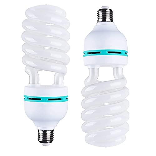 2 bombillas de 135 W para fotografía, 5500 K, E27, lámpara de luz diurna, bombilla de bajo consumo