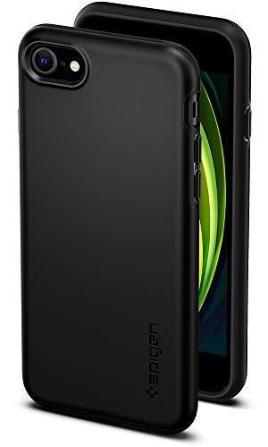 Spigen Thin Fit Pro Coque iPhone Se 2020, iPhone 8/7 Dos Rigide PC Bumper Souple avec Protection 4 Coins Technologie Air Cushion Compatible avec iPhone 7/8/SE 2020 - Noir