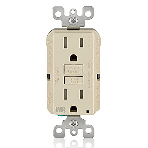 Leviton GFWT1-T Self-Test SmartlockPro Slim GFCI Weather-Resistant and Tamper-Resistant Receptacle with LED Indicator, 15 Amp, Light Almond