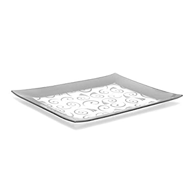 GAC Tempered Glass Tray Rectangular Glass Platter Unbreakable – Chip Resistant – Oven Safe – Microwave Safe – Dishwasher Safe – Stackable Decorative Plate and Glass Serving Tray Silver