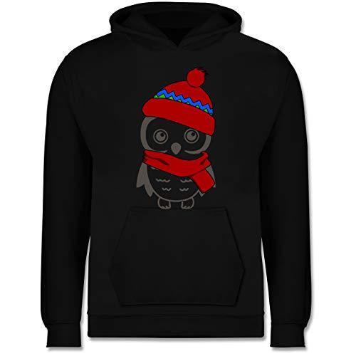 Shirtracer Tiermotive Kind - Winter Eule Schal Mütze - 140 (9/11 Jahre) - Schwarz - Kinder mütze - JH001K - Kinder Hoodie