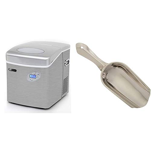 Whynter IMC-491DC Portable 49lb Capacity Stainless Steel with Water Connection Ice Makers, One Size & Winco Stainless Steel 4 Ounce Ice Scoop, Medium