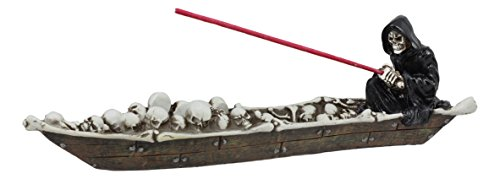 Ebros Grim Reaper Fishing On Boat of Skulls Incense Burner Statue 11.5