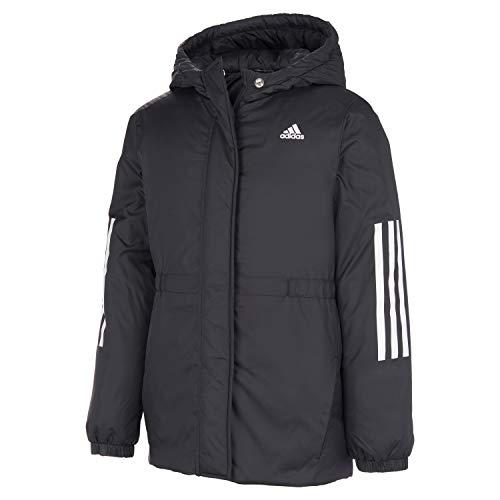 adidas Girls' Hooded Insulated Jacket Coat, Black, Large