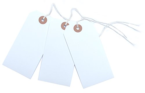 100 White Luggage Labels Gift Strung Tags Cotton String Reinforced