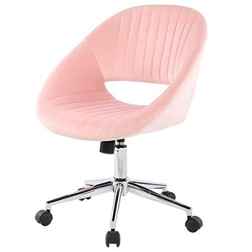 Emoshayoga Cómoda Silla de Terciopelo con Gran Soporte Lumbar, Simple y Elegante, para artículos de Oficina, tocador para el hogar(Pink)