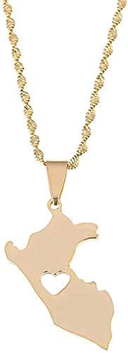 huangshuhua Collar Acero Inoxidable Color Dorado Mapa de Perú Collares Pendientes Mapa de joyería de corazón Peruano
