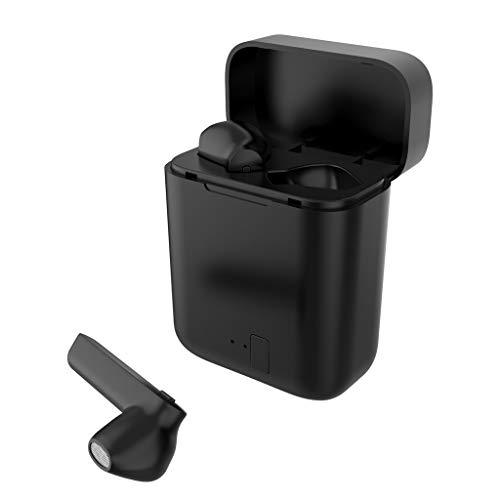 Marxways Blueteeth 5.0 Headset TWS Drahtlose Ohrhörer Mini-Ohrhörer Stereo-Kopfhörer In-Ear Eingebautes Mikrofon-Headset Premium-Sound mit tiefem Bass für Sport (schwarz)