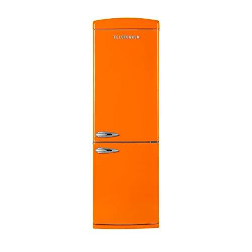 Telefunken TFK373FO2 Kühl-Gefrier-Kombination/A++ / 190,1 cm Höhe / 263 kWh/Jahr / 237 L Kühlteil / 104 L Gefrierteil/Retro-Design / 0-Grad-Zone/Orange