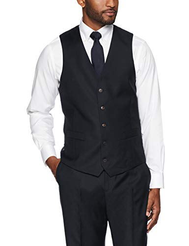 Buttoned Down Tailored Fit Italian Wool Suit Vest Business Vests, Negro, 44 Long