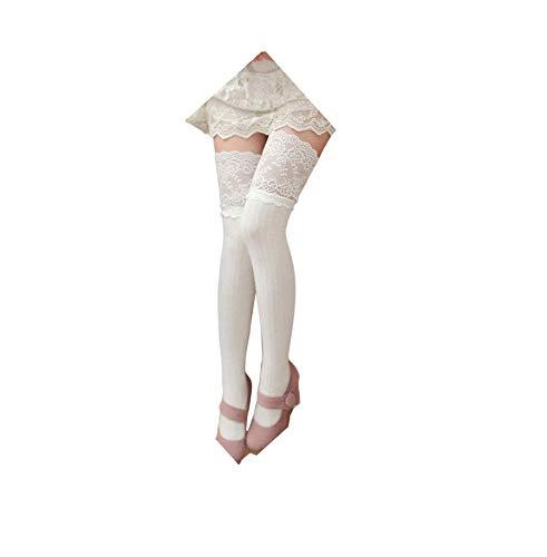 YunYoud Baumwollsocken Damen, Mädchen Winter Über Kniestrümpfe Weich Baumwolle Spitze Lange Socken Frau Mode Strümpfe Beiläufig Kuschelsocken (62cm, Weiß)