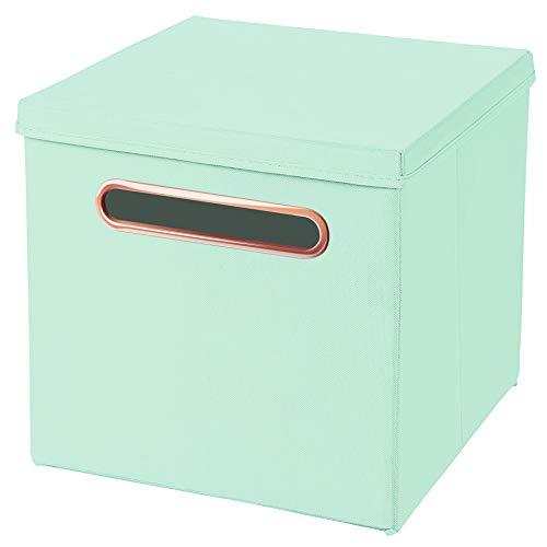 Stick&Shine 1x Aufbewahrungs Korb Mint Faltbox 32,5 x 32,5 x 32,5 cm mit Rosegold Griff Regalkorb faltbar, mit Deckel