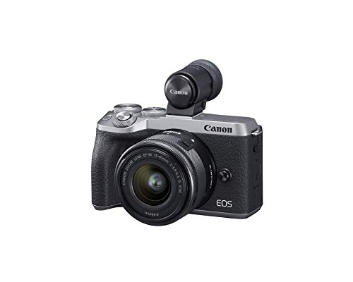 Canon USA EOS M6 Mark II Mirrorless Camera, (Silver)+Ef-M 15-45mm F/3.5-6.3 is STM + Evf Kit