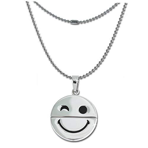 Amello schmunzelnder Smiley Halskette silber Schmuck 58cm Edelstahl ESK032W