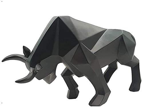 Desktop-Skulptur Stier Statue Bison/Bull Dekoration Harz Skulptur Handwerk Desktop Dekoration Home Abstrakte Kunst, Schreibtisch, Bücherregalanzeige Dekorative Figuren (Color : Black)
