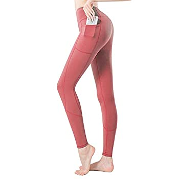 ZIIIW Women High Waisted Yoga Pants Naked Feeling Buttery Ultra Soft Solid Stretch Leggings for Yoga Workout Daily  Pocket Red L