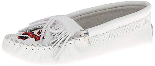 Minnetonka Women's Thunderbird Softsole Moccasin,White Smooth,8.5 M US