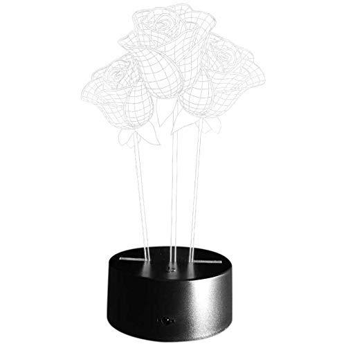 LHQ-HQ 7 Color Rosa 3D LED lámpara de Mesa Luz Viva Micro-USB Humor luz for el Dormitorio de Noche Amante de San Valentín Regalo de la Esposa