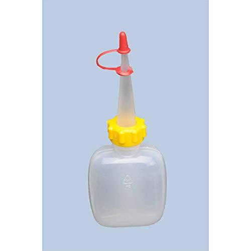 hünersdorff Botella de compresión de 50 ml, ovalada, LD-PE, apta para alimentos, para dosificación especialmente fina, con tuerca de unión estable y cierre antigoteo, para cocina, laboratorio