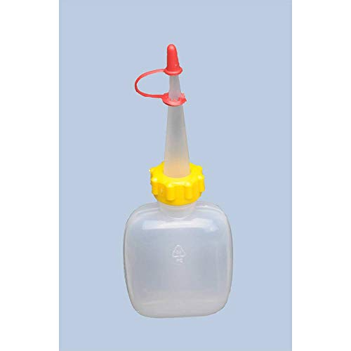 hünersdorff Botella de compresión de 50 ml, ovalada, LD-PE, apta para alimentos, para dosificación especialmente fina, con tuerca de unión estable y cierre antigoteo, para cocina, laboratorio o hobby