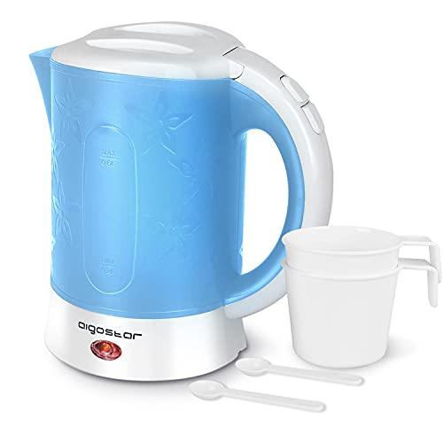 Aigostar Travel Hervidor de Agua Eléctrico Compacto de 0,6 Litro, Libre de BPA, 650W Hervidor Agua Pequeño, Incluye dos tazas y dos cucharas de regalo, Filtro Antical, Apagado Automático, Azul