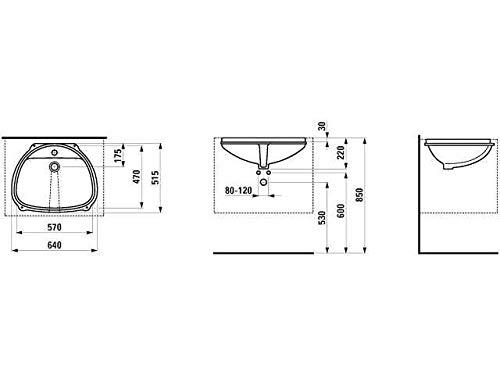Laufen Einbauwaschtisch von unten Bilou 1 Hahnloch mit Überlauf 575x475 weiß, Farbe: Weiß