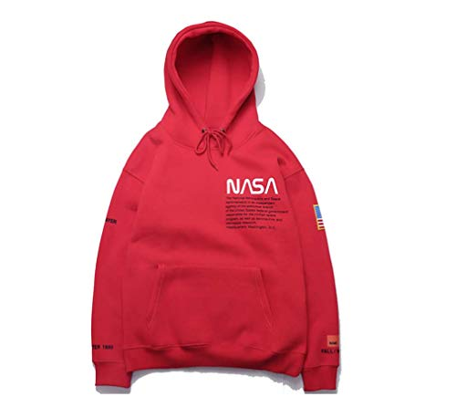 Oriaa Fashion NASA Letter Print Plus Velvet Cotton Loose Pullover Hoodie Sweater for Men/Women Red