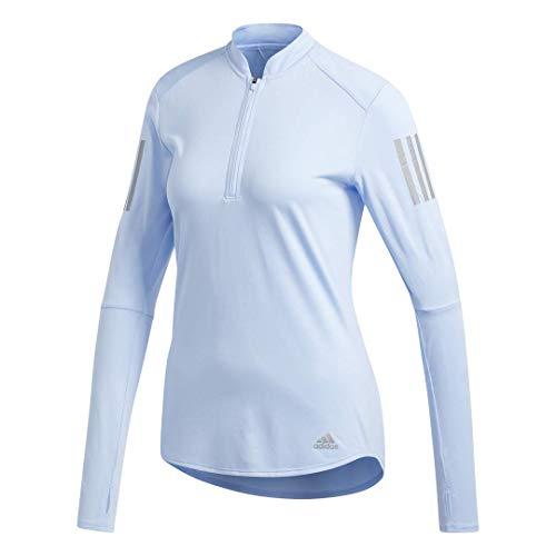adidas Own The Run Zip Sweatshirt Sudadera de Cuello Redondo, Azul Brillante, Extra-Small para Mujer