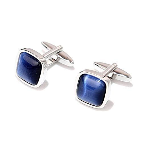 Robusto Camisa del Juego de Negocio del Manguito de uñas de Azul Real del Ojo de Gato Francesa Mancuernas de los Hombres Caja de Regalo Durable (Color : Royal Blue)