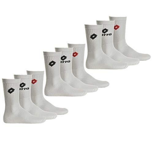 Lotto 9 Paar Tennis Socken Unisex, Frottee-Sportsocken, Einfarbig, Farbenauswahl (39-42 - 9 PAAR, Weiß)