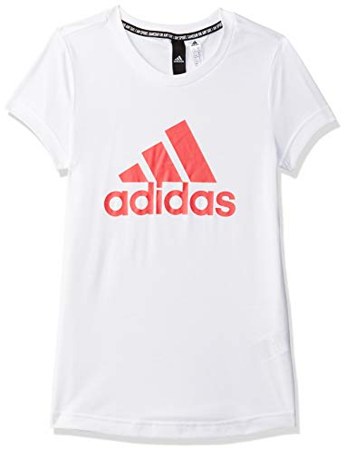 adidas YG MH Bos Tee, T-Shirt Bambina, White/Core Pink, 5-6Y