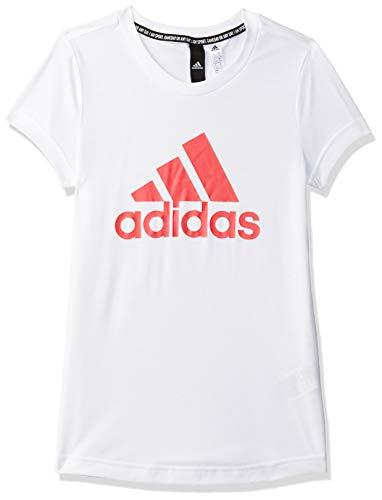 adidas YG MH Bos Tee, T-Shirt Bambina, White/Core Pink, 5-6Y