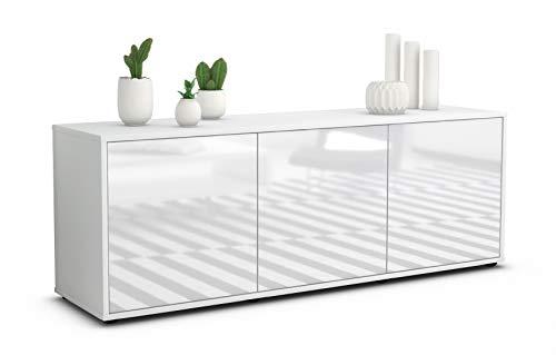 Stil.Zeit TV Schrank Lowboard Allegra, Korpus in Weiss matt/Front im Hochglanz Design Weiß (135x49x35cm), mit Push to Open Technik, Made in Germany