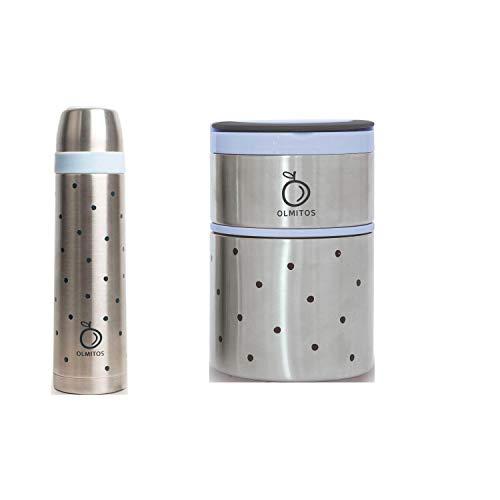 Pack Termo Liquidos + Termo Solidos de Olmitos -Danielstore + regalo de un babero (Azul)