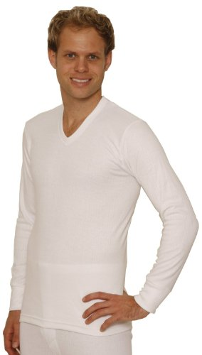 Octave 2 Pack Mens Thermal Underwear Long Sleeve 'V'-Neck T-Shirt/Vest/Top (Medium: Chest 36-38 inches, White)